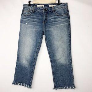ANTHRO Pilcro Hyphen Raw Hem Cropped Jeans - 29